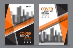 Orange Color Scheme with City Background Business Book Cover Design Template in A4. Brochure flyer layout. Annual Report. Magazine. Poster. Presentation Stock Image