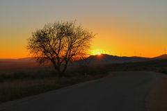 Orange color at sunrise. Beautiful sunrise colors royalty free stock photo