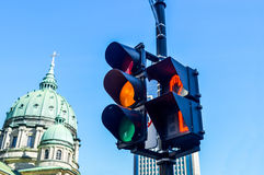 Orange color on the traffic light Royalty Free Stock Photos