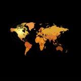 Orange color world map on black background. Globe design backdrop. Royalty Free Stock Image
