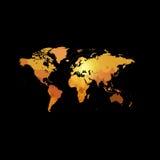 Orange color world map on black background. Globe design backdrop.  Royalty Free Stock Images
