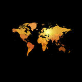Orange color world map on black background. Globe design backdrop.. Cartography element wallpaper. Geographic locations image. Continents vector illustration Royalty Free Stock Photo