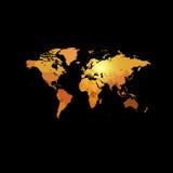 Orange color world map on black background. Globe design backdrop.  Royalty Free Stock Photo