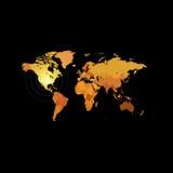 Orange color world map on black background. Globe design backdrop.  Stock Photography