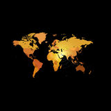 Orange color world map on black background. Globe design backdrop. Cartography element wallpaper. Geographic locations image. Continents vector illustration Royalty Free Stock Photos
