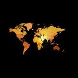 Orange color world map on black background. Globe design backdrop. Royalty Free Stock Photos
