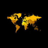 Orange color world map on black background. Globe design backdrop.. Cartography element wallpaper. Geographic locations image. Continents vector illustration Stock Photos