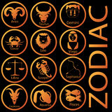 Orange color zodiac. Orange two-dimensional universe is in the orange circle on a black background Stock Images