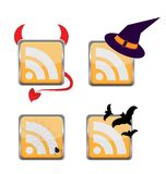 Orange Colored RSS Icon Royalty Free Stock Photo