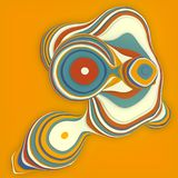 Orange colored sliced shape. Computer generated abstract geometric 3D render illustration royalty free illustration