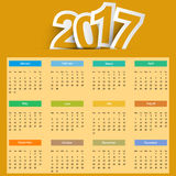 Orange Colors Full Calendar Year 2017 - Week Starts Sunday.  Royalty Free Stock Photos