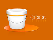 Orange colour paint bucket with stylish text. Royalty Free Stock Photo