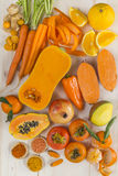 Orange coloured fruit and vegetables stock photography