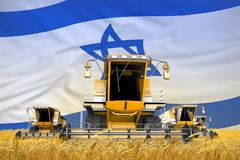 4 orange combine harvesters on grain field with flag background, Israel agriculture concept - industrial 3D illustration