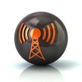Orange communication tower icon on black glossy sphere Royalty Free Stock Photos
