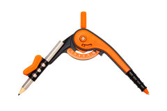 Orange compasses. Modern orange compasses on a white background Royalty Free Stock Images