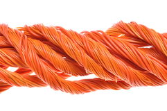 Orange computer cables Royalty Free Stock Photos