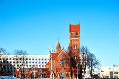 Orange Concrete Church Under Blue Sky during Daytime Royalty Free Stock Photo