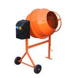 Orange Concrete mixer. Concrete mixer isolated on the white background Royalty Free Stock Photo