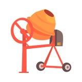 Orange concrete mixer. Colorful cartoon vector Illustration Stock Images