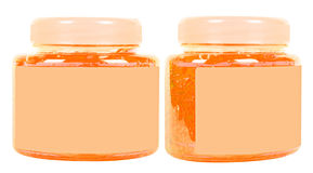 Orange conditioner jars Stock Image