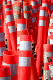 Orange cones. A large group of orange caution cones stock photography