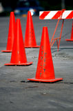 Orange cones. Orange traffic cones used to denote a work zone royalty free stock photos
