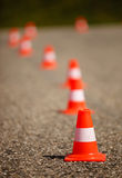 Orange cones on street Royalty Free Stock Images