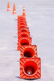 Orange cones Stock Images