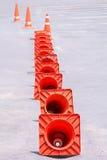 Orange cones Stock Images