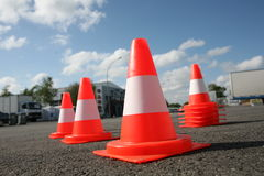 Orange cones in a urban environment Stock Photos