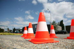 Orange cones in a urban environment Royalty Free Stock Images