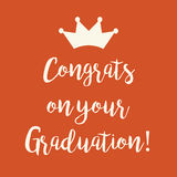 Orange Congrats on your Graduation greeting card. Cute orange Congrats on your Graduation greeting card with a crown Royalty Free Stock Images
