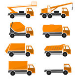 Orange construction cars , collection industrial truck, types automobiles, set icon vehicles Royalty Free Stock Photography
