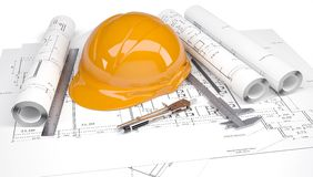 Orange construction helmet on the drawings. Orange construction helmet on the architectural drawings with engineering tools.  on white background Stock Photography