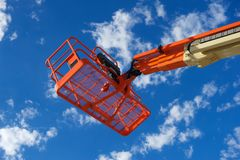 Orange Construction Utility Lift Royalty Free Stock Photo