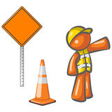 Orange construction worker Stock Photo