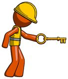 Orange Construction Worker Contractor Man with big key of gold o. Pening something - Toon Rendered 3d Illustration Stock Photo