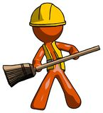 Orange Construction Worker Contractor Man broom fighter defense. Pose - Toon Rendered 3d Illustration Stock Photography