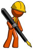 Orange Construction Worker Contractor Man drawing or writing wit stock illustration
