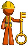 Orange Construction Worker Contractor Man holding key made of go. Ld - Toon Rendered 3d Illustration Royalty Free Stock Photo