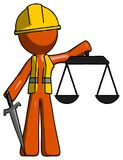 Orange Construction Worker Contractor Man justice concept with s. Cales and sword, justicia derived - Toon Rendered 3d Illustration Royalty Free Stock Photography