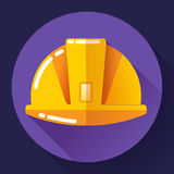 Orange construction worker helmet icon. Flat design style. Stock Images