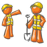 Orange construction workers. An illustrated view of two abstract orange men dressed with safety vests and carrying a shovel as if at a construction site Stock Images