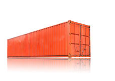 Orange container with shadow reflection Royalty Free Stock Photos