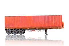 Orange container stack on cargo trailer truck Royalty Free Stock Photography