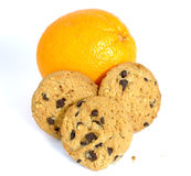 Orange or cookies isolated on white background Royalty Free Stock Photos