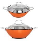 Orange Cooking Pot / cast iron cooking pot, isolated on white. Beautiful cooking pot. Set of 2 pans Royalty Free Stock Photos