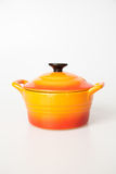 Orange cooking pot Royalty Free Stock Images