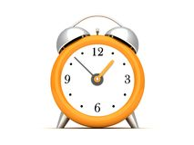 Orange Copper Alarm Clock on white Stock Images